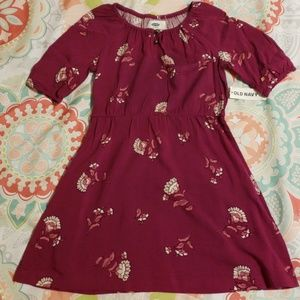 NWT Burgandy Floral Print Dress